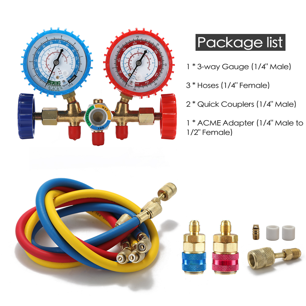AC Diagnostic Manifold Gauge Set for R134A R12 R22 R502 A//C Refrigerant 3 Way with Quick Coupler and 1//4 Male to 1//2 Female Acme Adapter