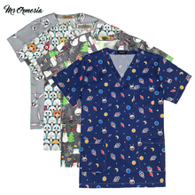Uniform Work-Clothes Beauty Salon Pet-Shop Cotton Blue New Flower-Print Animal