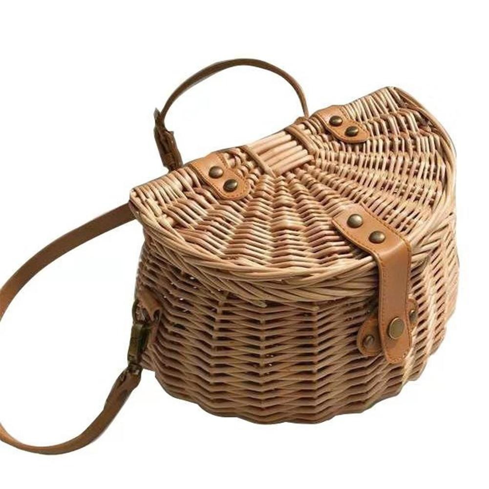 Handbasket Riding Pouch Cargo Storage Container Bike Front Bag Rattan basket