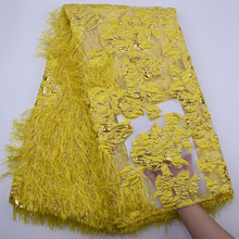 Laces-Fabrics Embroidery Wedding-Dress Tulle Nigerian Yellow African High-Quality Latest
