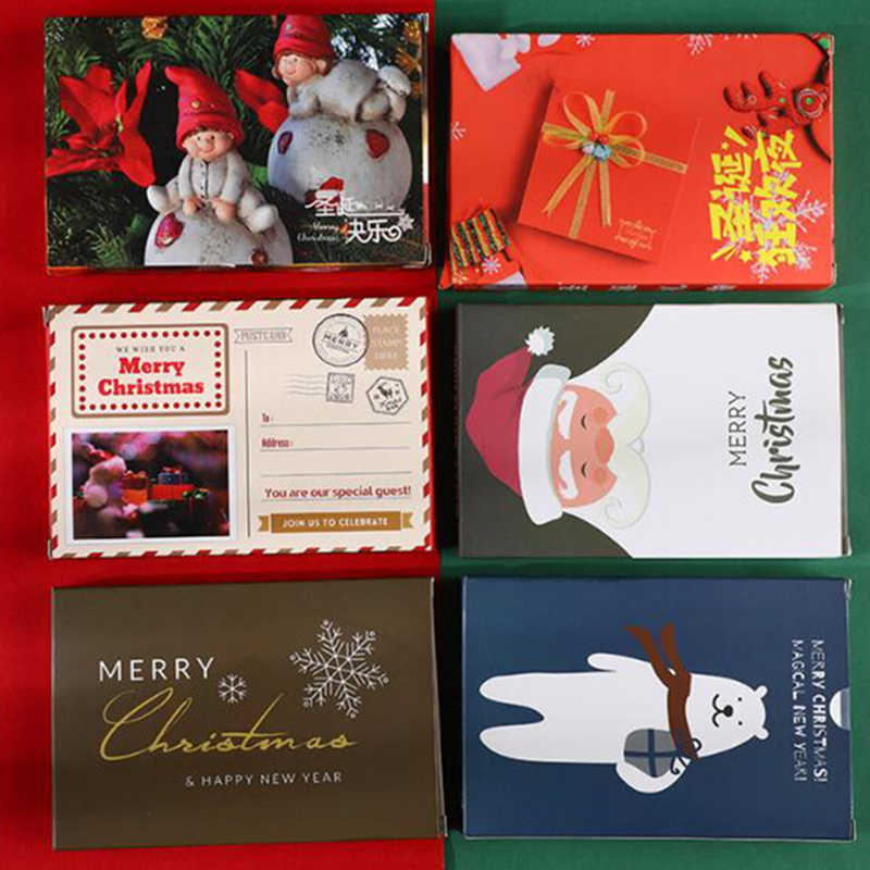 30pcs/pack Christmas Greeting Card Kids Mini Christmas Blessing Greeting Cards Envelope New Year Postcard Gift Card Xmas Party