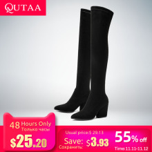 QUTAA Winter Shoes Hoof-Heels Women Boots High-Boots Over-The-Knee Elastic Sexy Fabric