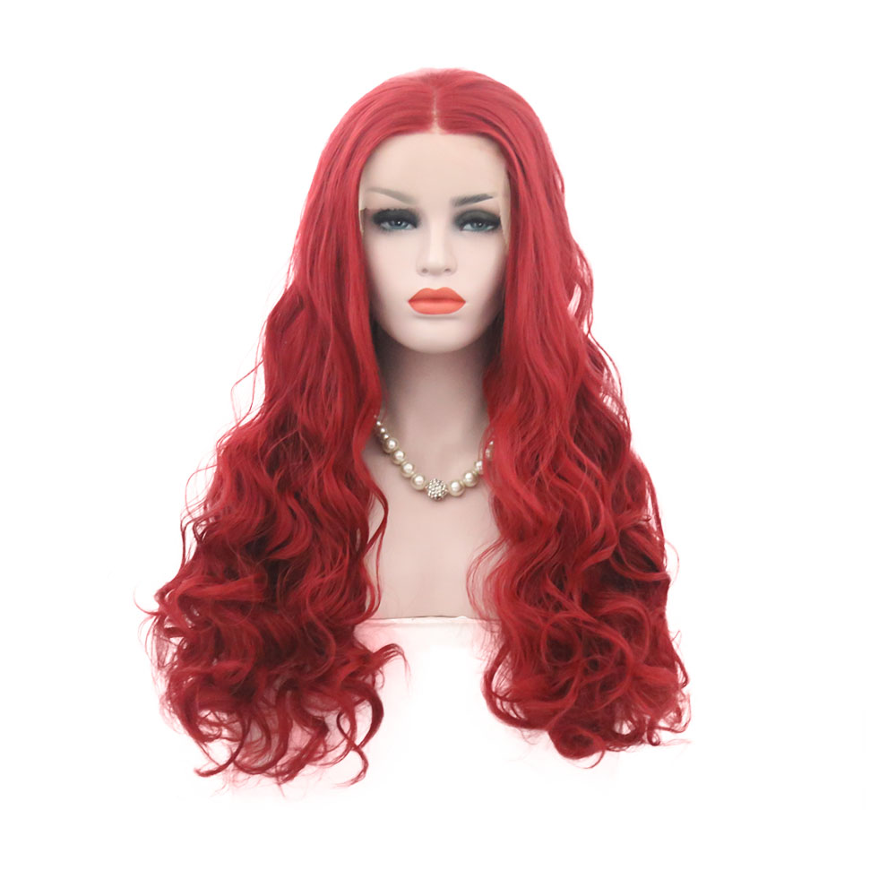 AIMEYA Red Long Wavy Hair Synthetic Lace Front Wig for Women Midlle Part Natural hairline Heat Resistant Fiber Hair