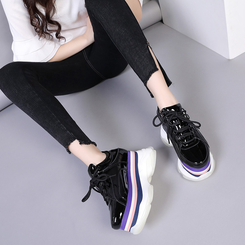 New 2020 Spring Creepers Pumps Women Shoes Patent Leather Thick Bottom Women Wedges High Heels Shoes Casual Lace Up Ladies Pumps (4)
