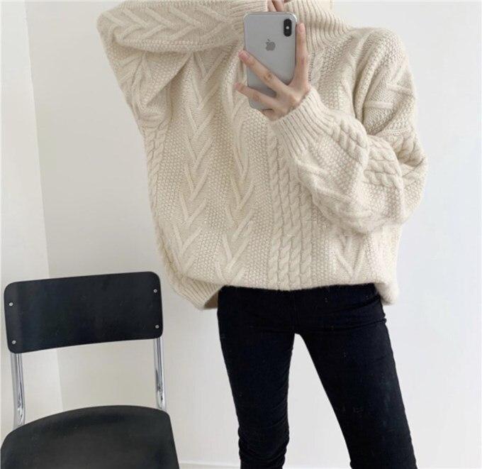 Korea kobiety jesienno-zimowy sweter z golfem Twist sweter z wełny z długim rękawem luźne dzianinowe swetry Plus Size Casual swetry -