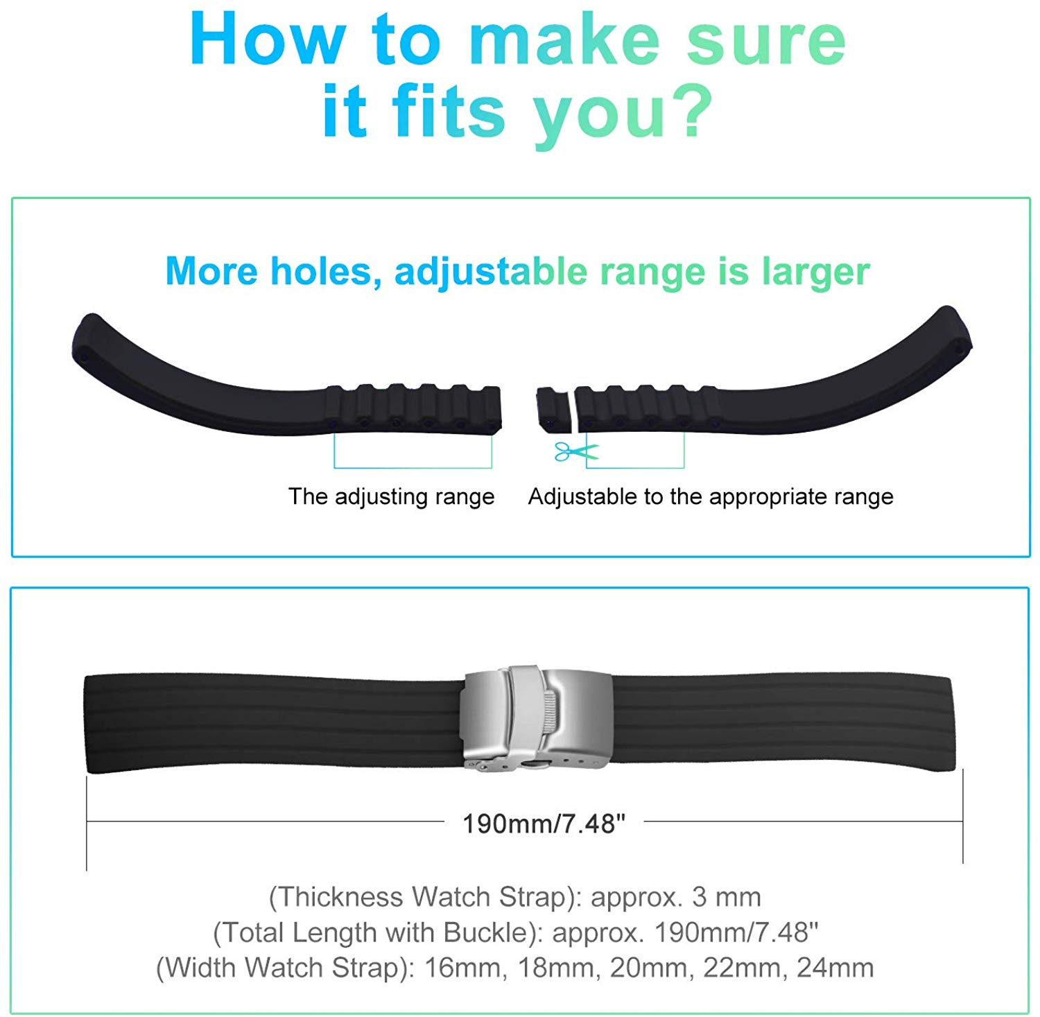 Silicone Watch Strap Replacement Rubber 18/20/22/24 mm Watch Band Stripe Pattern Bracelet Folding Stainless Steel Buckle Tool