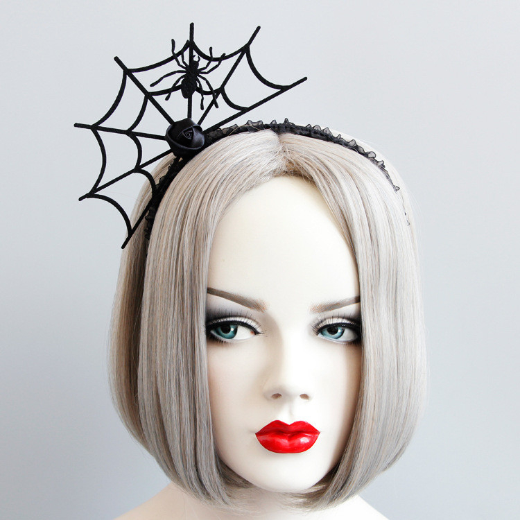 Funny Halloween Headband Devil Fork Women Spider Web Flower Hair Hoop Party Ornaments Topper New Hair Accessories 1111