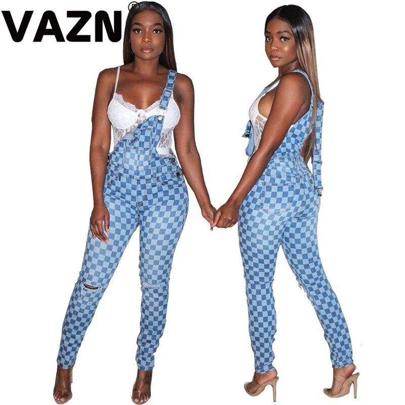 VAZN 2020 Hot High-end Popular Plaid Sexy Young Daily Joker Energy Simple Spaghetti Strap Women Slim Long Pencil Jean Pants