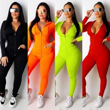 Pants Suit Matching-Sets Sportwear Winter Outfits Two-Piece-Set Zipper Jogging Plus-Size