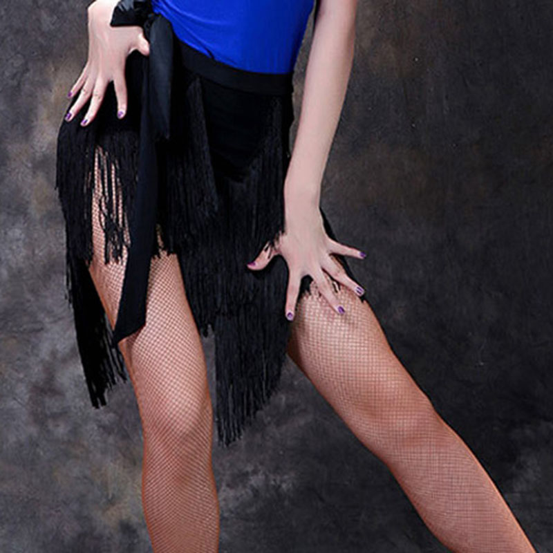 2021 Professional Latin Dance Skirt Women Black Competition Practice Ballroom Tango Skirt Tassel Fringe Latin Salsa Dance Skirt