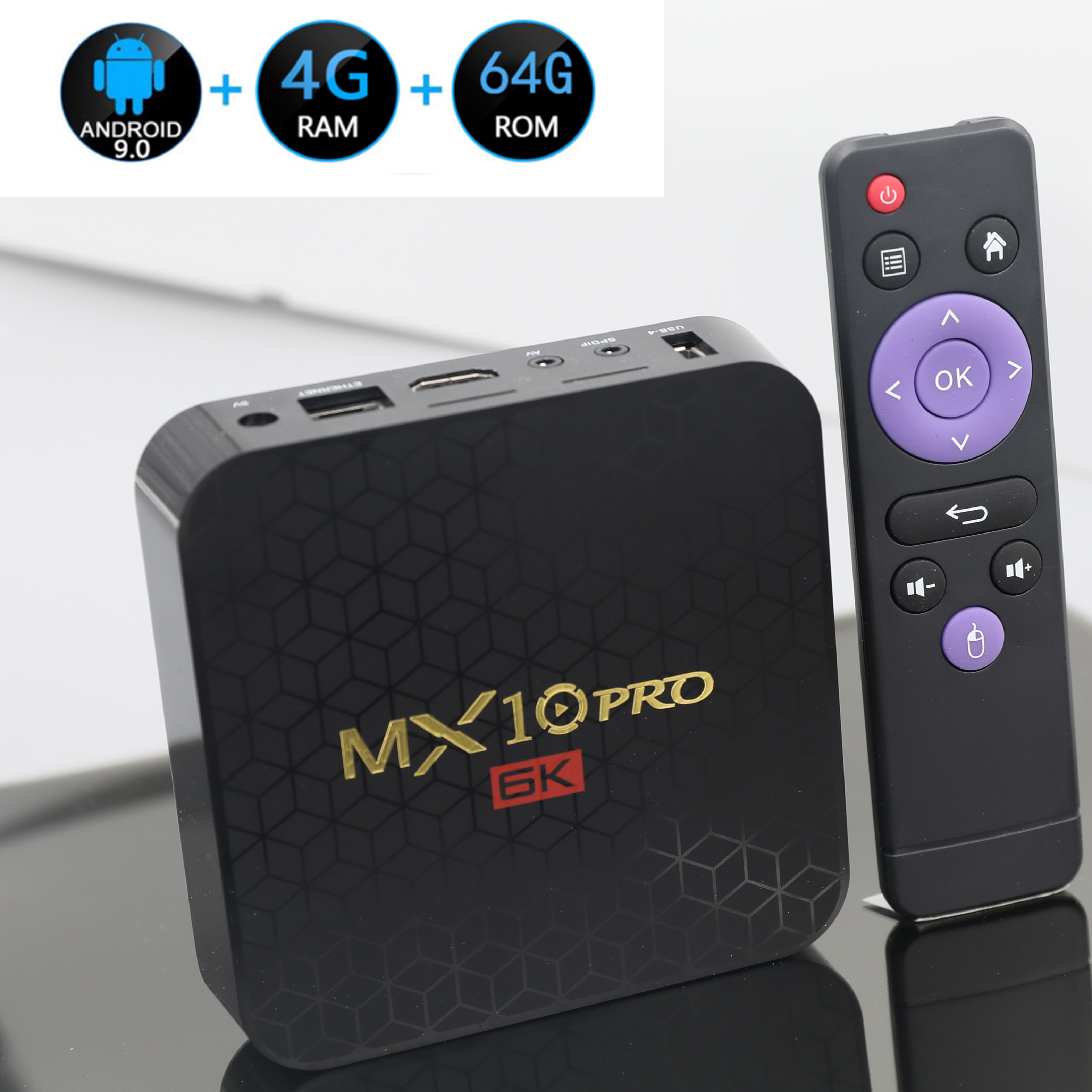Smart-Media-Player Tv-Box Support Wifi Quad-Core Allwinner 6K H.265 Android 9.0 Mx10-Pro title=