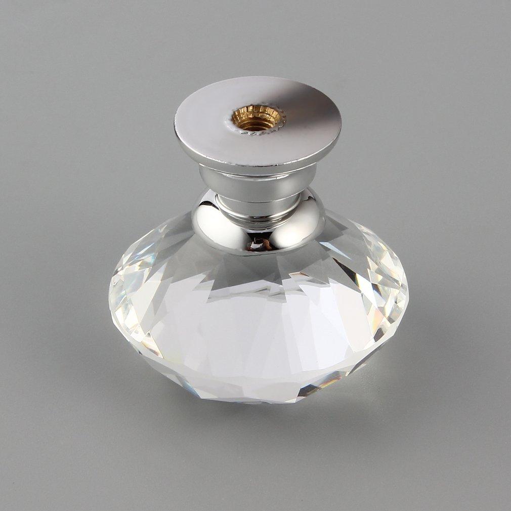 10Pcs 30mm Diamond Plated Shape Crystal Glass Knob Cupboard Drawer Pull Handle New Kitchen Door Knob Accessories Drop shipping