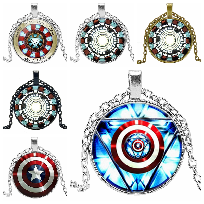 2019 hot iron man heart crystal glass round pendant jewelry necklace reactor