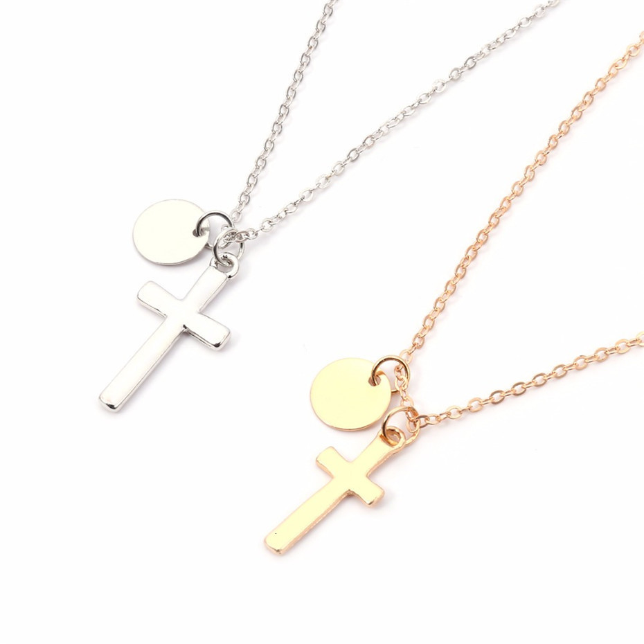 Ingemark-Simple-Iron-Cross-Pendant-Choker-Necklace-Women-Jewelry-Vintage-Alloy-Sequin-Long-Slender-Chain-Necklace