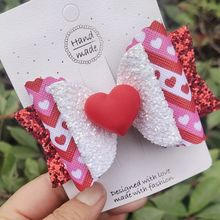 Thumblina Cute Heart Love Hairgrips Glitter Hair Bow Dance Party Hair Accessories Girls Spring Valentine Hair Bows