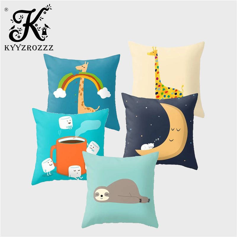 Cartoon Design Cushion Cover Cute Giraffe Otter Unicorn Moon Polyester Printed Children/'s Room Home Decoration Sofa Pillow Case