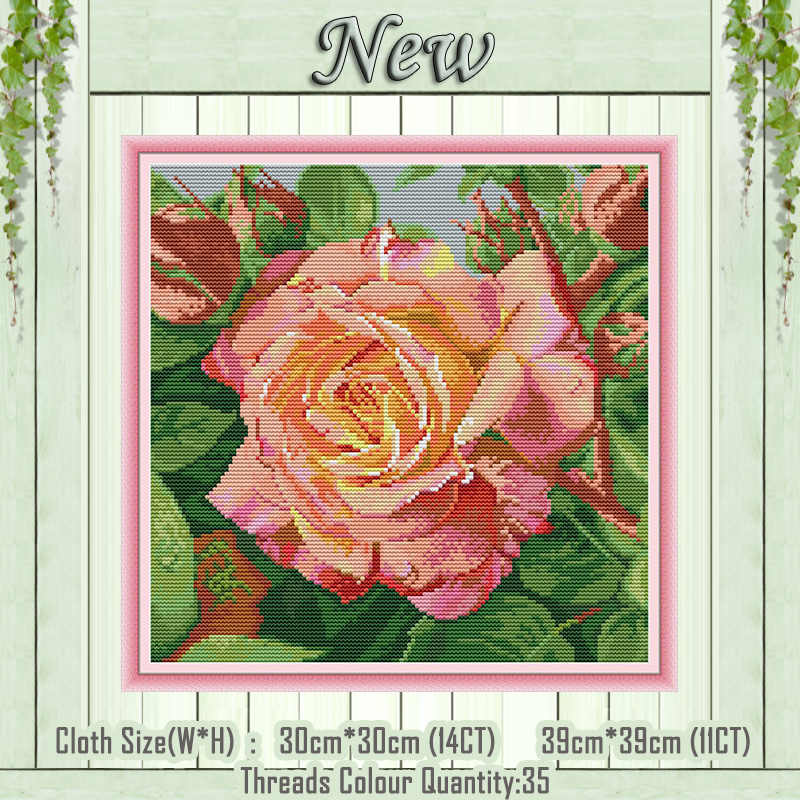 Rose Flower Dimensions Crafts Stamped Cross Stitch Kits 11CT Aida Cloth