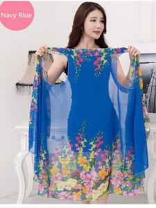 Royalmaybe Silk Scarf Wraps Sunscreen Pashmina Women Shawls Multifunction Beach High-Quality