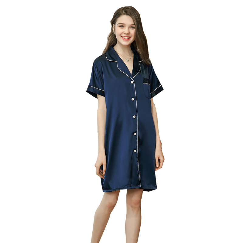 Silk sexy women/'s nightdress summer shirt women/'s pajamas comfortable elastic home casual sleeping clothes