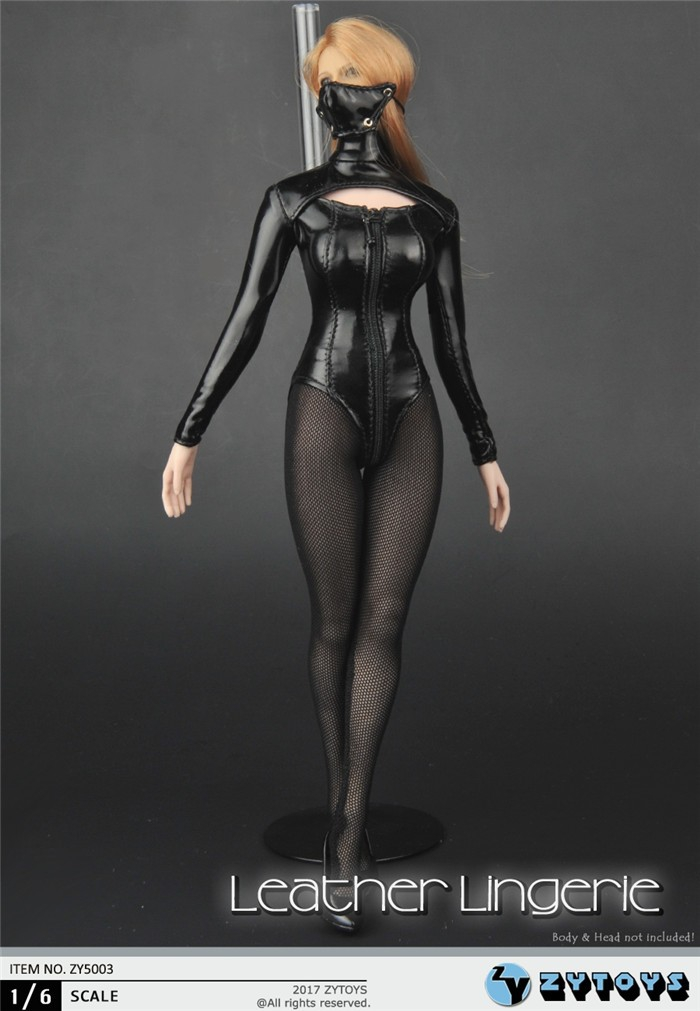 ZYTOYS 1//6 Girl Women Leather Lingerie Suit w//Mask F 12/'/' Big Breast Female Body