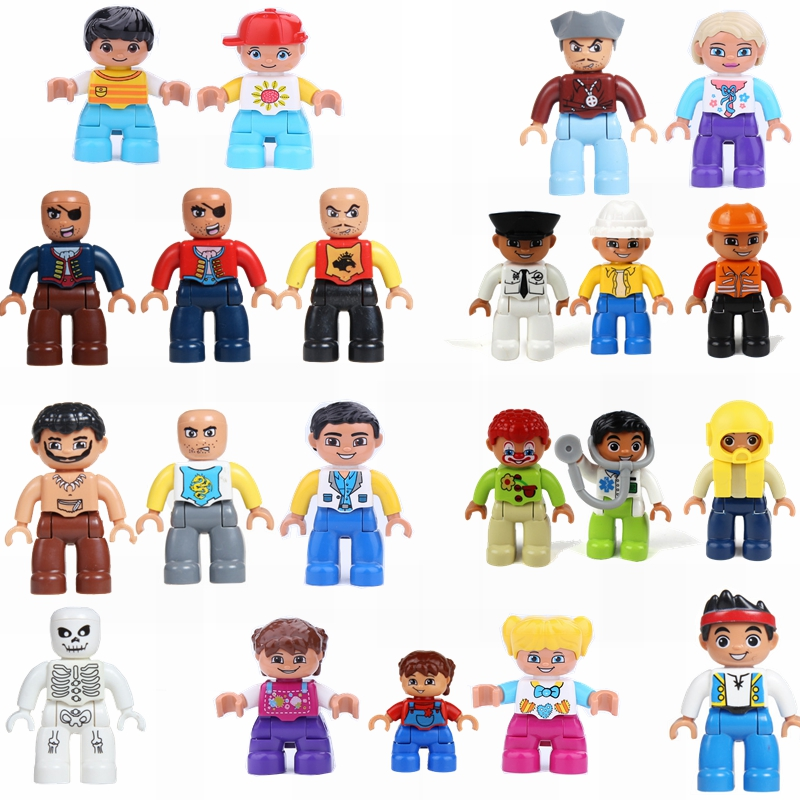 Locking Duplo City Blocks Little Princess Dad Mom and Grandma Grandma Family Model Duplo Brick Education Gifts Children Lockings