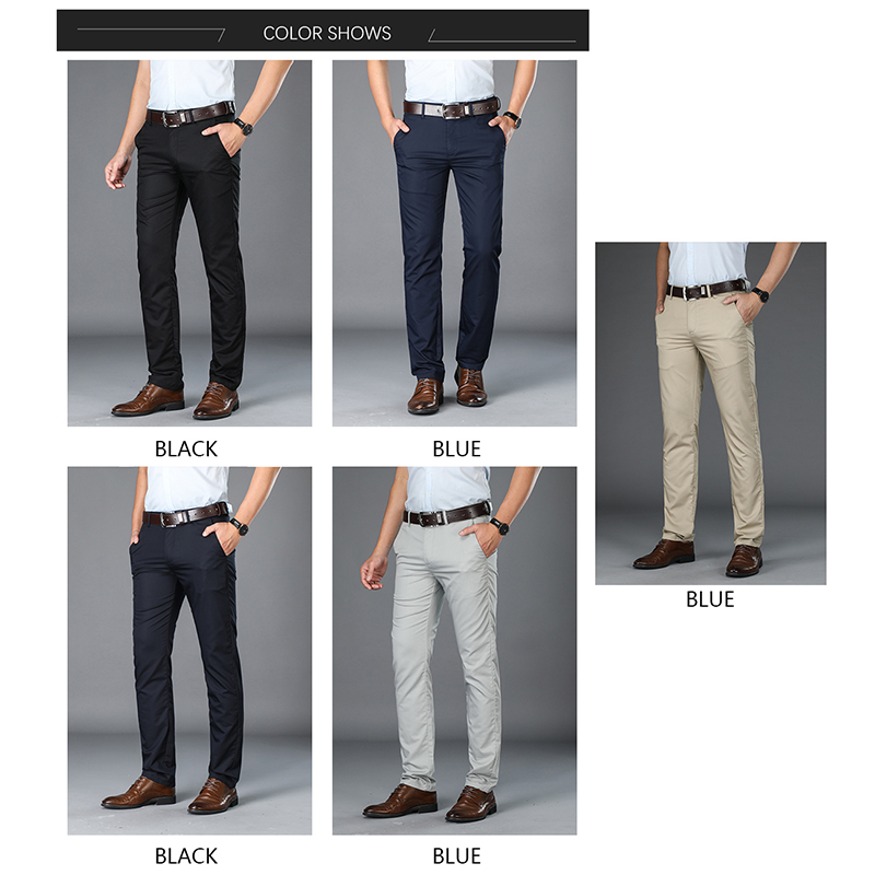 BROWON Brand Pants Men Casual Mid Long Trousers Male Bamboo Fiber straight Work Pant men's summer thin big size 29-42