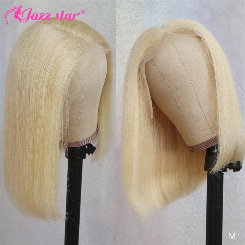 Straight Blonde Lace Front Wig Brazilian Lace Front Human Hair Wigs Jazz Star Non-Remy 613 Short Bob Lace Front Wigs Pre-Plucked