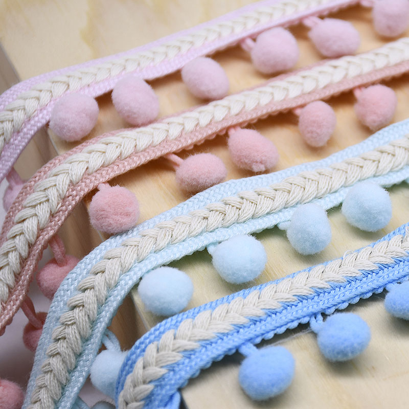 1M Vintage Braided Lace Trim Ribbon with 13mm Pom Pom Ball Lace Fringe for Clothing DIY Sewing Accessories Decoration Supplies