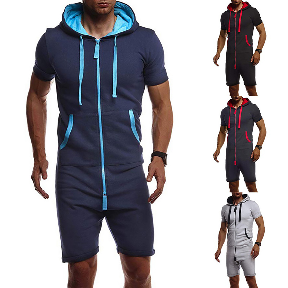 Jumpsuits Tracksuit-Sets Short Sportwear Fashion Mens Summer Zipper Solid Overalls One-Piece title=