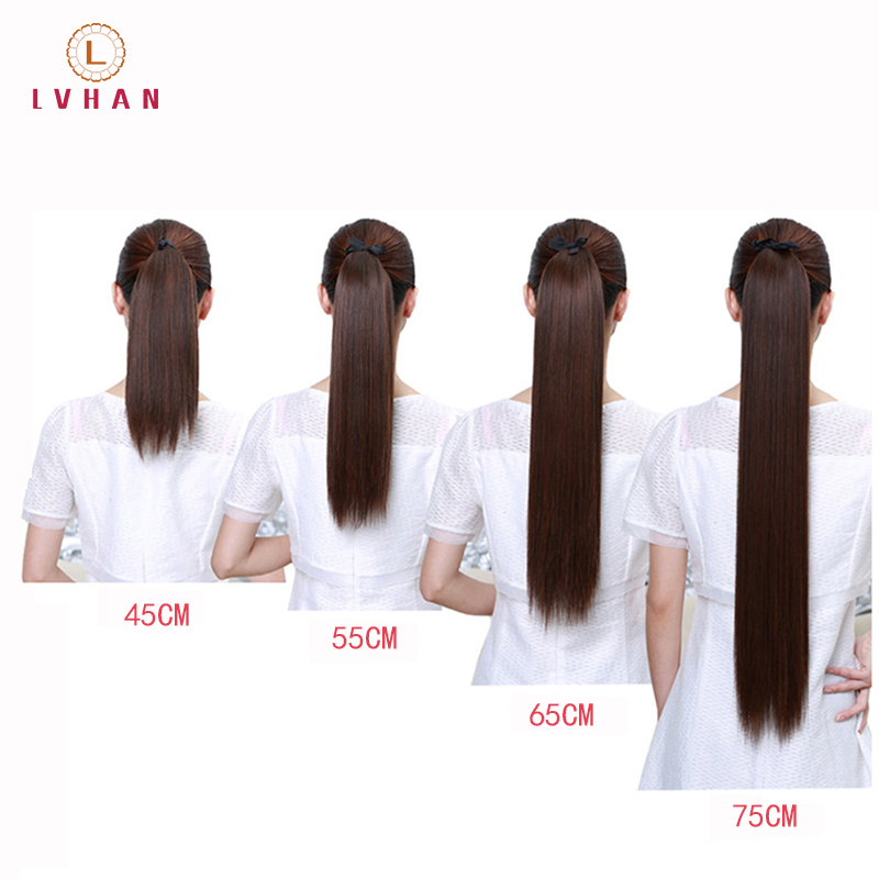 LVHAN Super Long Straight Clip In Tail False Hair Ponytail Hairpiece With Hairpins Synthetic Pony Tail Extensions