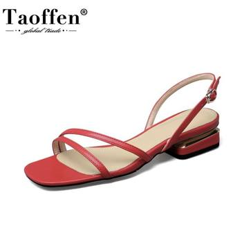 Taoffen Women Sandals Shoes Fashion Metal Buckle Square Low Heels Shoes Women Solid Color Casual Outdoor Footwear Size 34-39