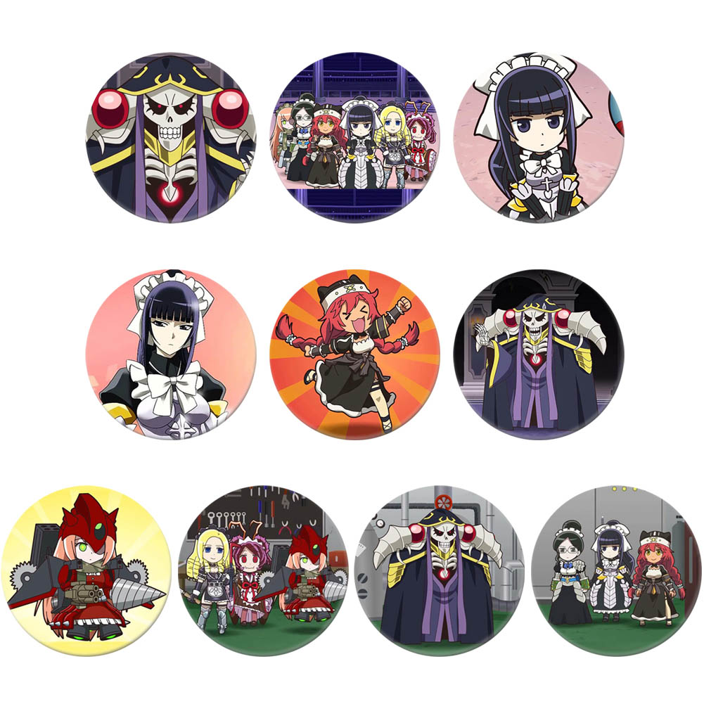 OverLord  Anime Character Cartoon Round Tinplate Collect Backpacks Bags Button Badge Brooch Pin