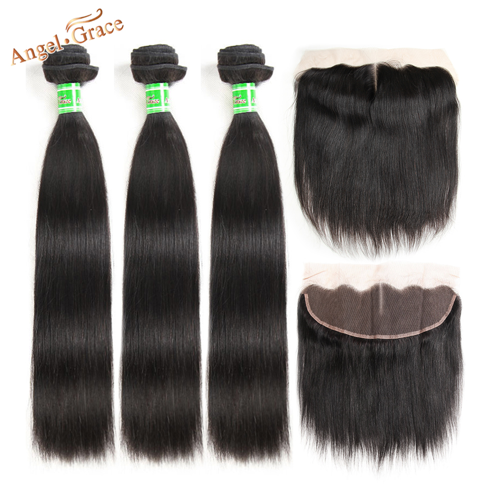 Angel Grace Hair Indian Straight Hair 3 Bundles With Ear To Ear Frontal 100% Remy Human Hair Bundles With Lace Closure Frontal