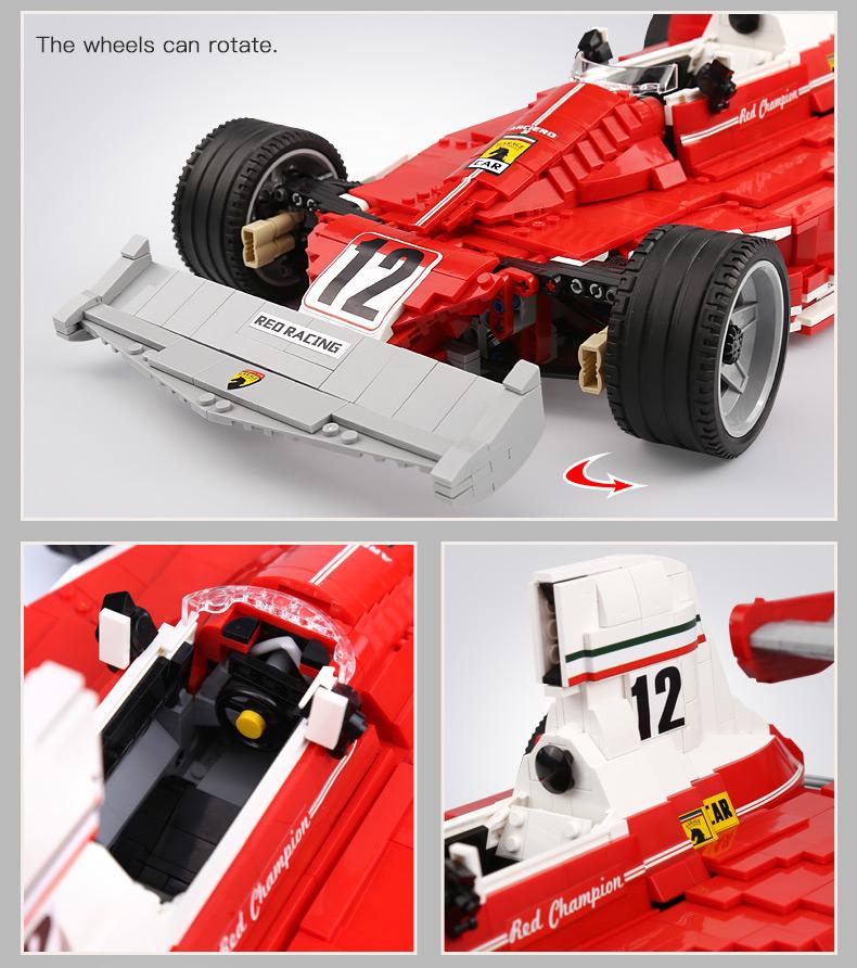 XingBao XB-03023 Red Power Racing Car Ferrariii 312T Building Block 29