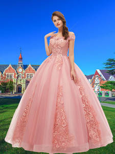Ball-Gowns Prom-Dresses Vestido-De-15-Anos Sweet Off-Shoulder Lace Long Tulle