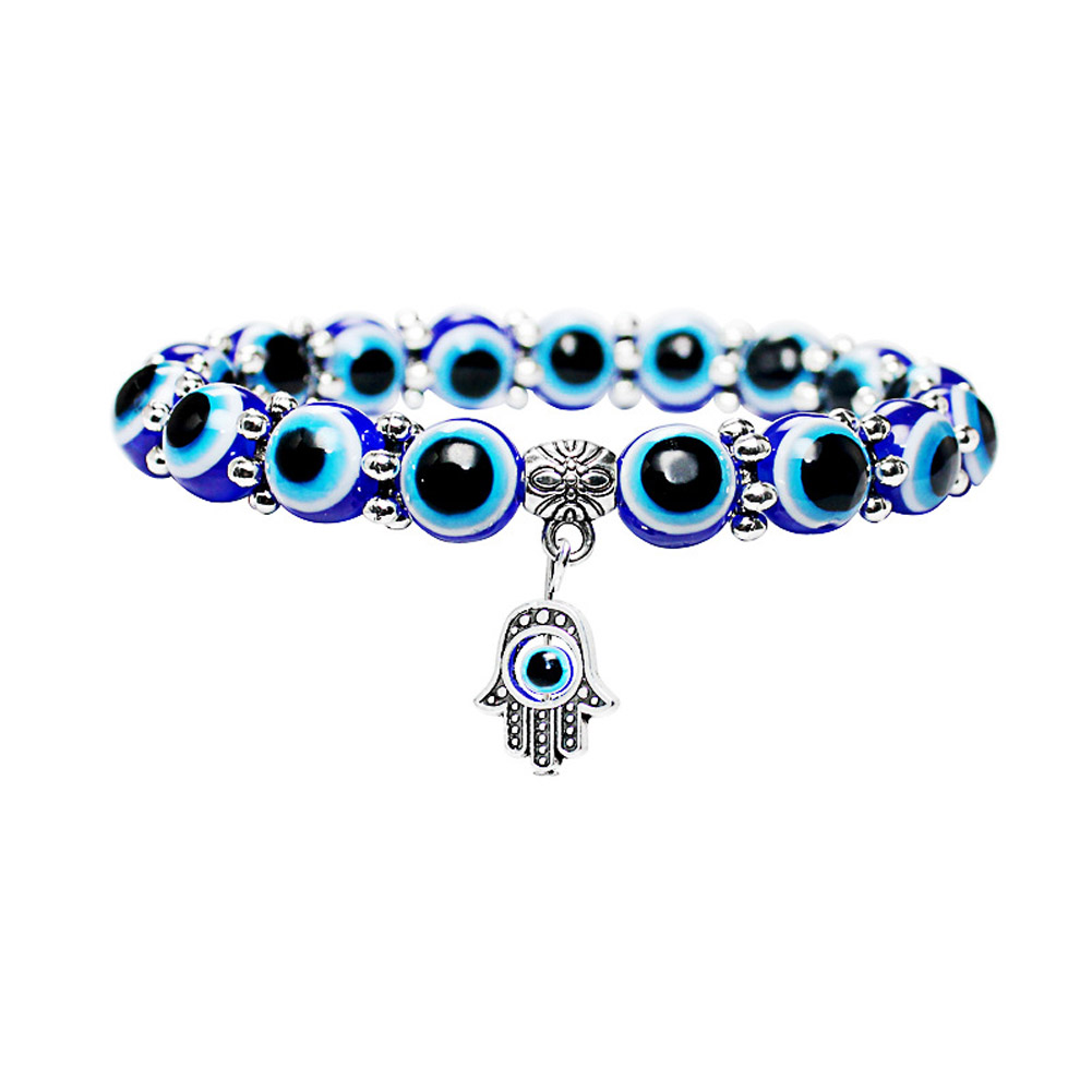 Fashion Silver Color Blue Eye Hand Bracelets For Women Beads Chain Vintage Jewelry Gifts