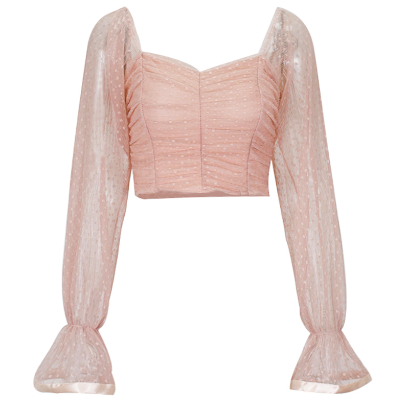 Женская блузка в горошек NewAsia, розовая сетчатая блузка с вырезом сердечком и рукавами-фонариками, винтажная белая блузка с рюшами
