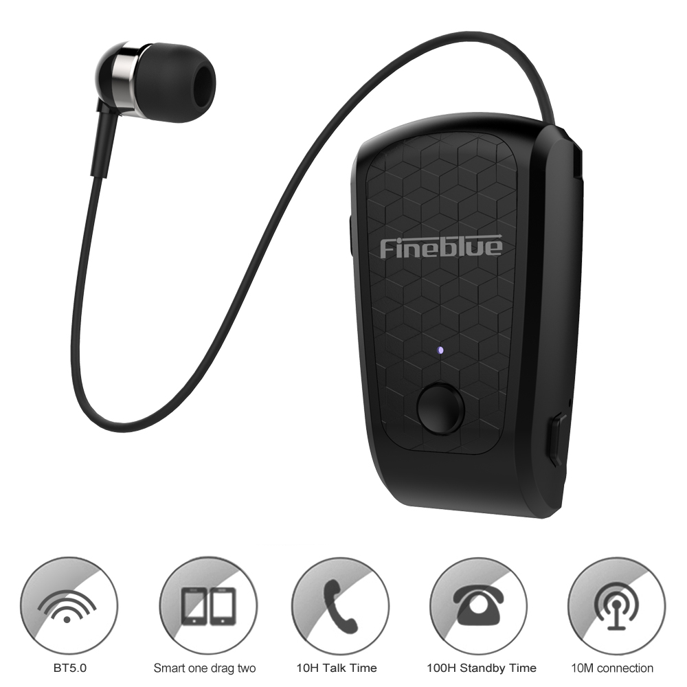 FQ-10 Clip-on Bluetooth Headphone Wireless Earphones Cable Retractable Earbud Music Headsets Hands-free with Mic