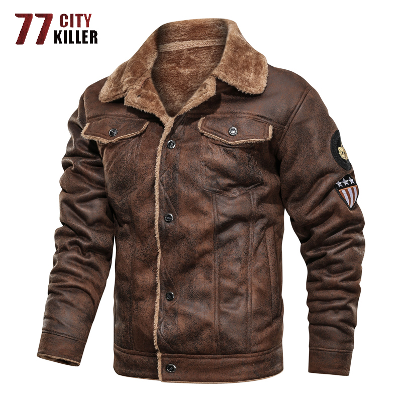 77City Killer Winter Military Jacket Men Thick Warm Suede Chamois Jackets Male Motorcycle Vintage Outwear chaqueta hombre S-3XL