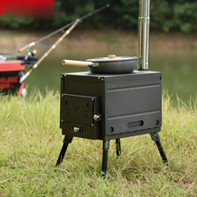 Outdoor portable wood stove wild stainless steel self-driving barbecue stove RV barbecue home barbecue stove charcoal grill