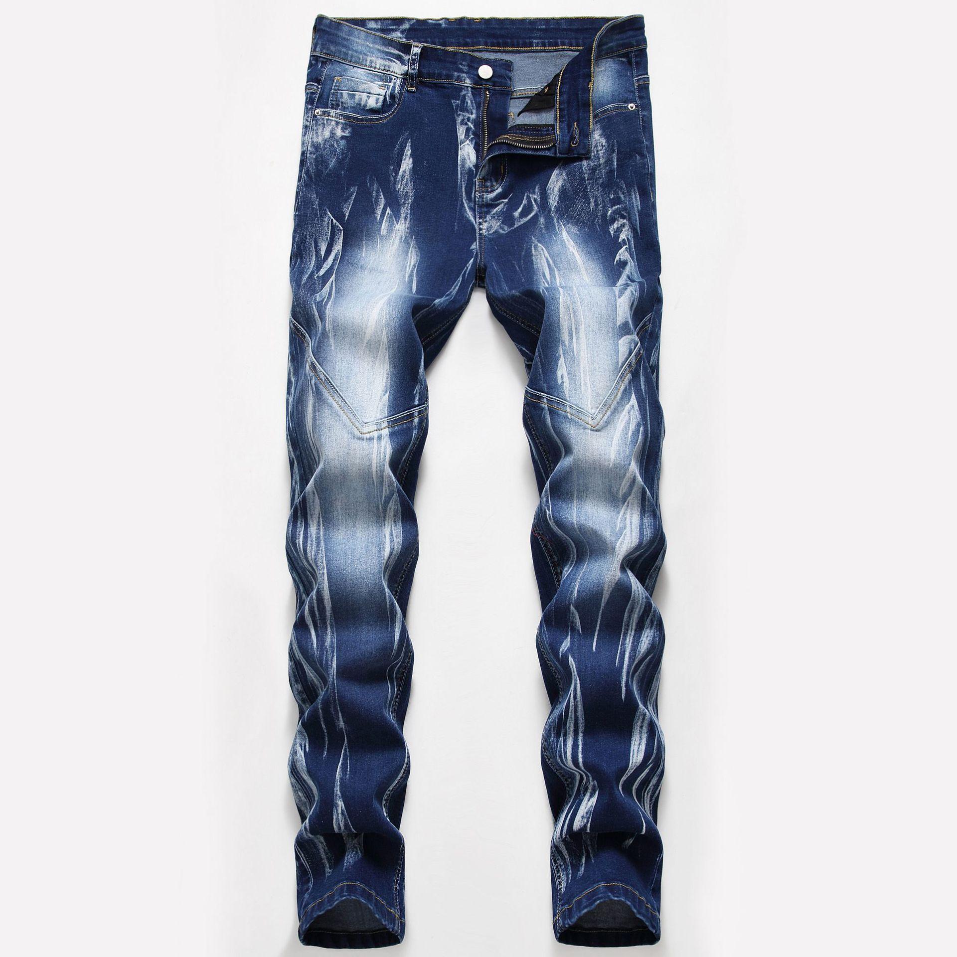 2020 High Quality Men Casual Jeans Coated Slim Jeans Pants Male Denim Casual Pants Plus Size 42