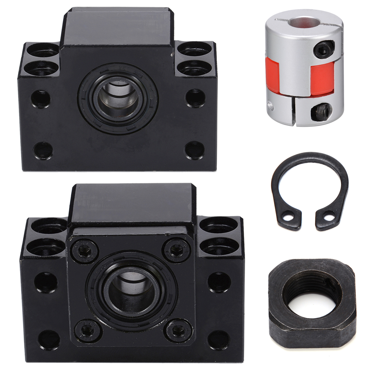 45 Steel SFU1605 BK12 BF12 Ball Screw Support + Lock Nuts Clasped with Coupler For CNCN Parts