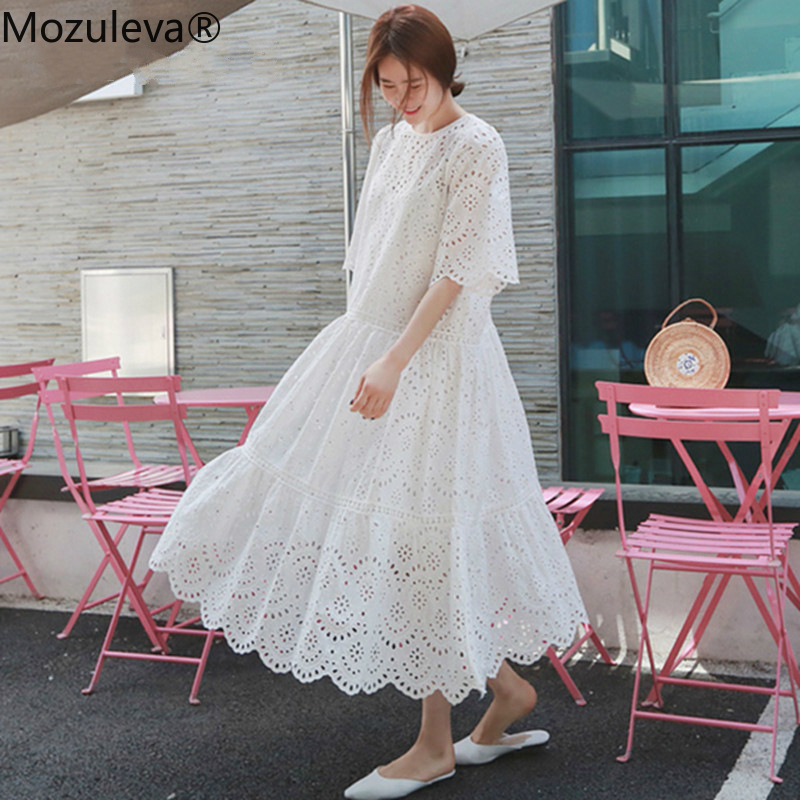 Mozuleva 2020 New Hollow Out Lace Dress Summer Elegant Beach Dress Female with Spaghetti Strap Vest+Summer Dresses Two Piece Set