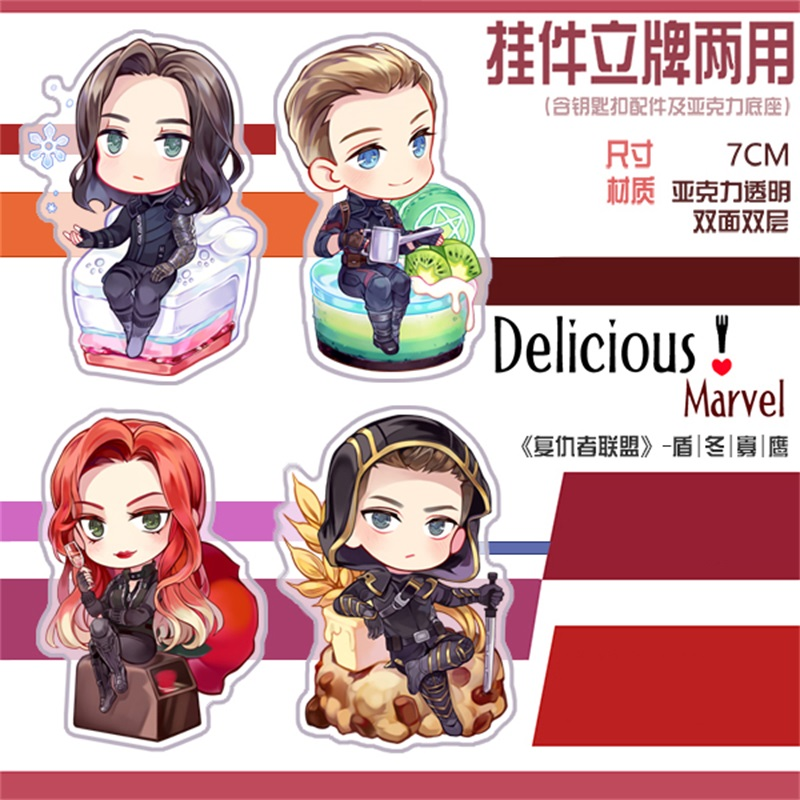 Marvel The Avengers Ironman Spider-man Steve Bucky Acrylic Keychain Be