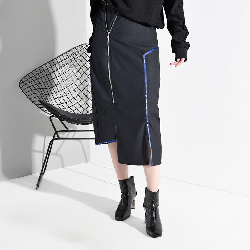High Waist Zipper Asymmetrical Split Temperament Half-body Skirt Women Fashion Tide New Spring Autumn 2020