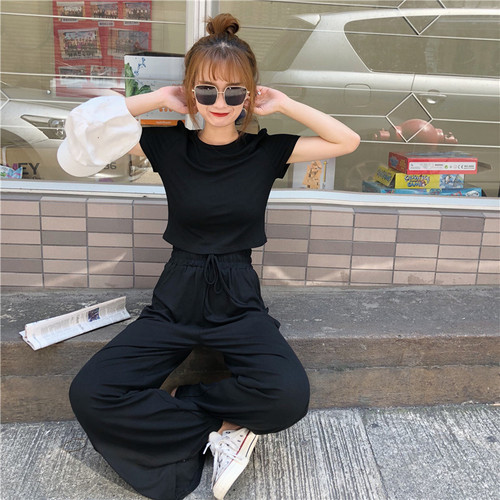 Short Sleeve Black Two Piece Set Casual Loose Wide Leg Pants High Waist Lady Outfits Crop Top And Trousers 2piece Set Women Suit