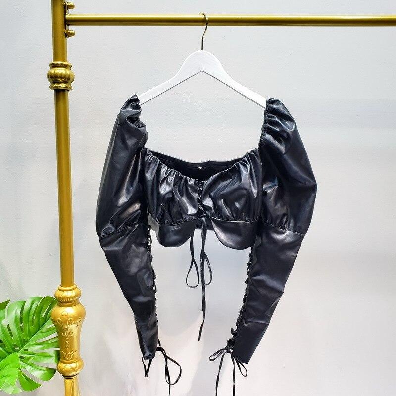 TVVOVVINWomen Blouse Retro Bandage Women Tops Deep V Neck Backless Puff Sleeve Leather Shirt Long Sleeve PU Crop Blouse DG183