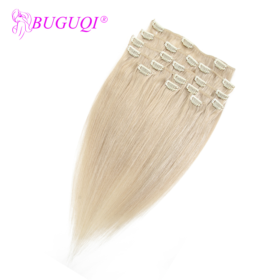 BUGUQI Hair Human-Hair-Extensions Clip-In Indian Remy-16-26inch 100g-Machine -24 title=
