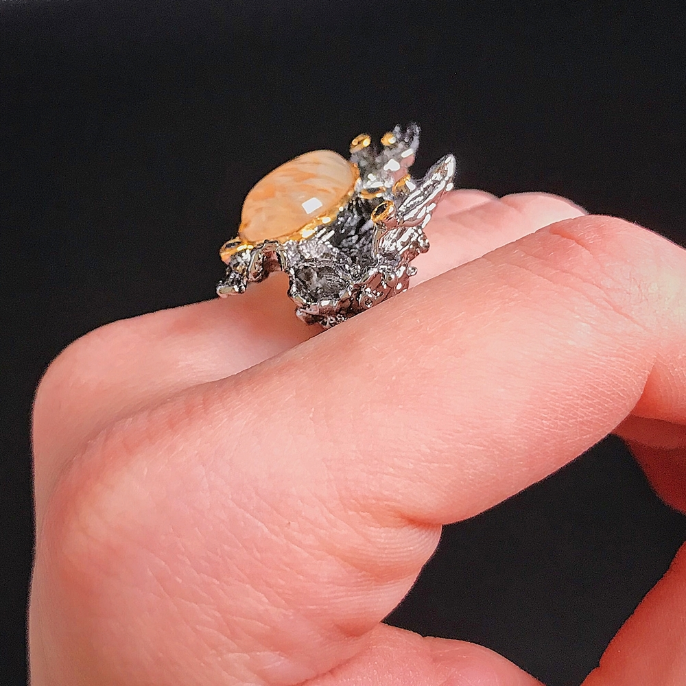 WA11787 DreamCarnival1989 Amazing Women Rings Rough Stone Wedding Engagement Ring Strong Character Water Melon Zircon Gun Color A (3)