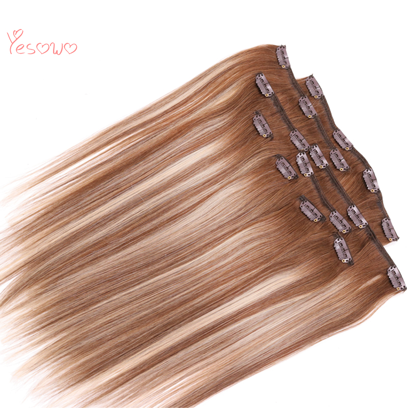 Yesowo Blonde-Color Hair-Extension-Clip Human-Hair Straight 100g Highlight 4/27/4-24inch title=